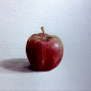 Apple in watercolour, dark toned.