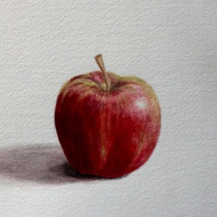 Apple in watercolour, light-toned.